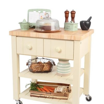 T&G New England Kitchen Trolley Hevea Top