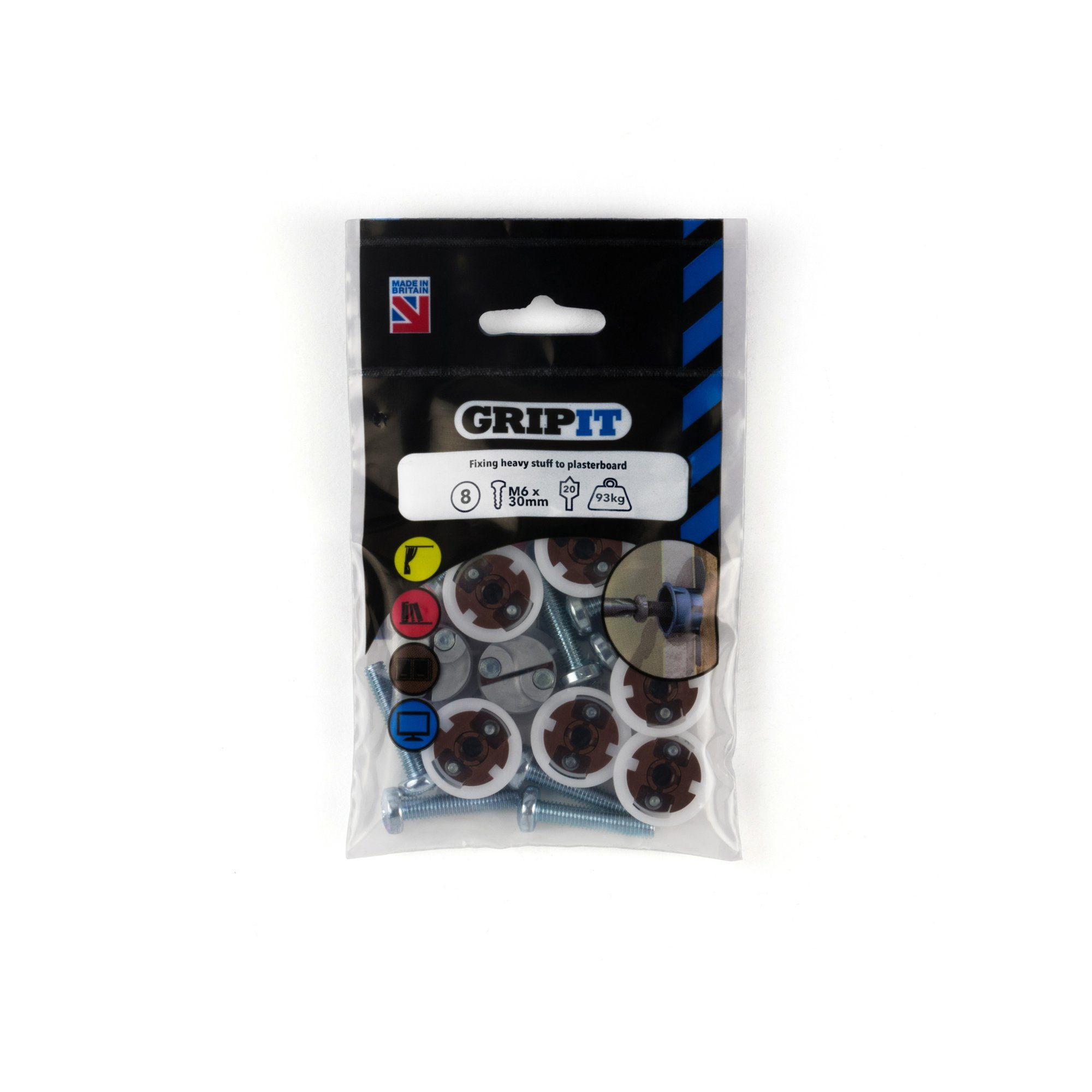 GRIP-IT 20mm Brown Pack of 8