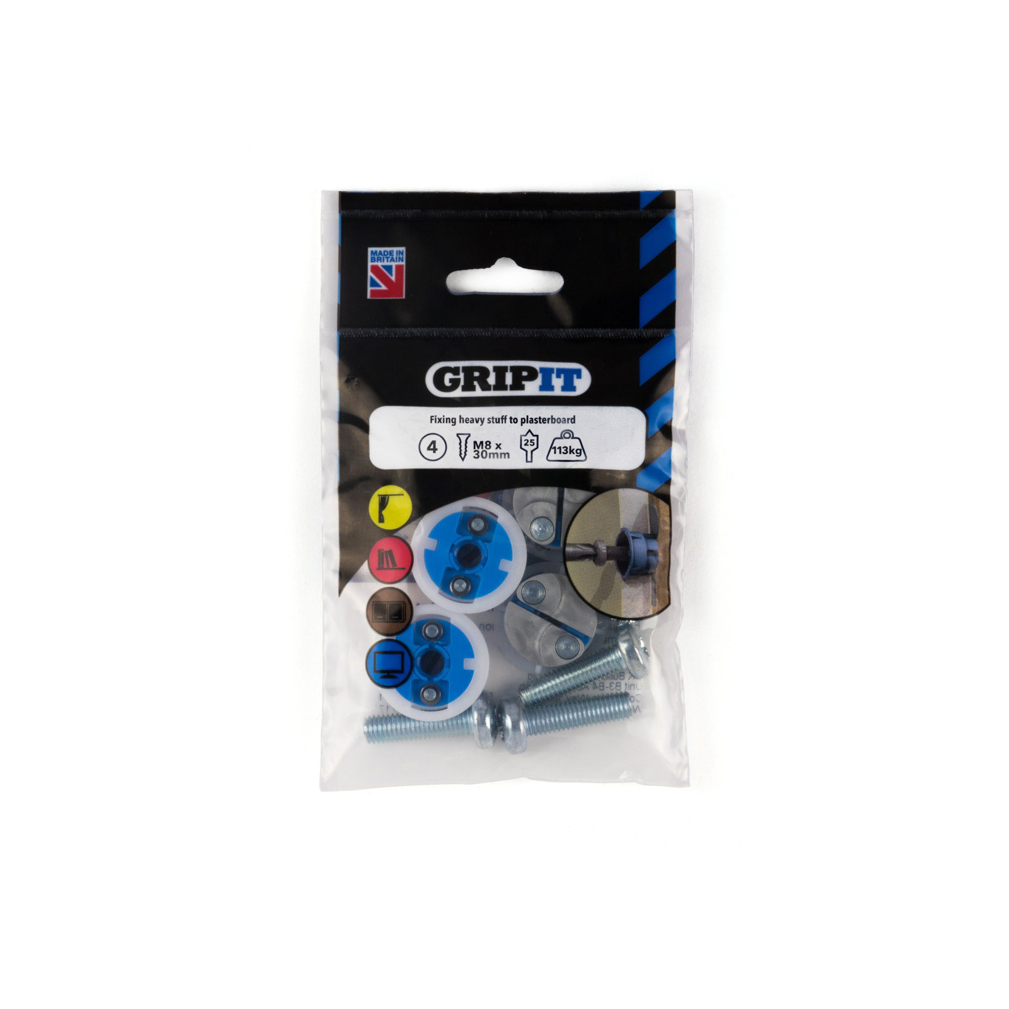 GRIP-IT 25mm Blue Pack of 4