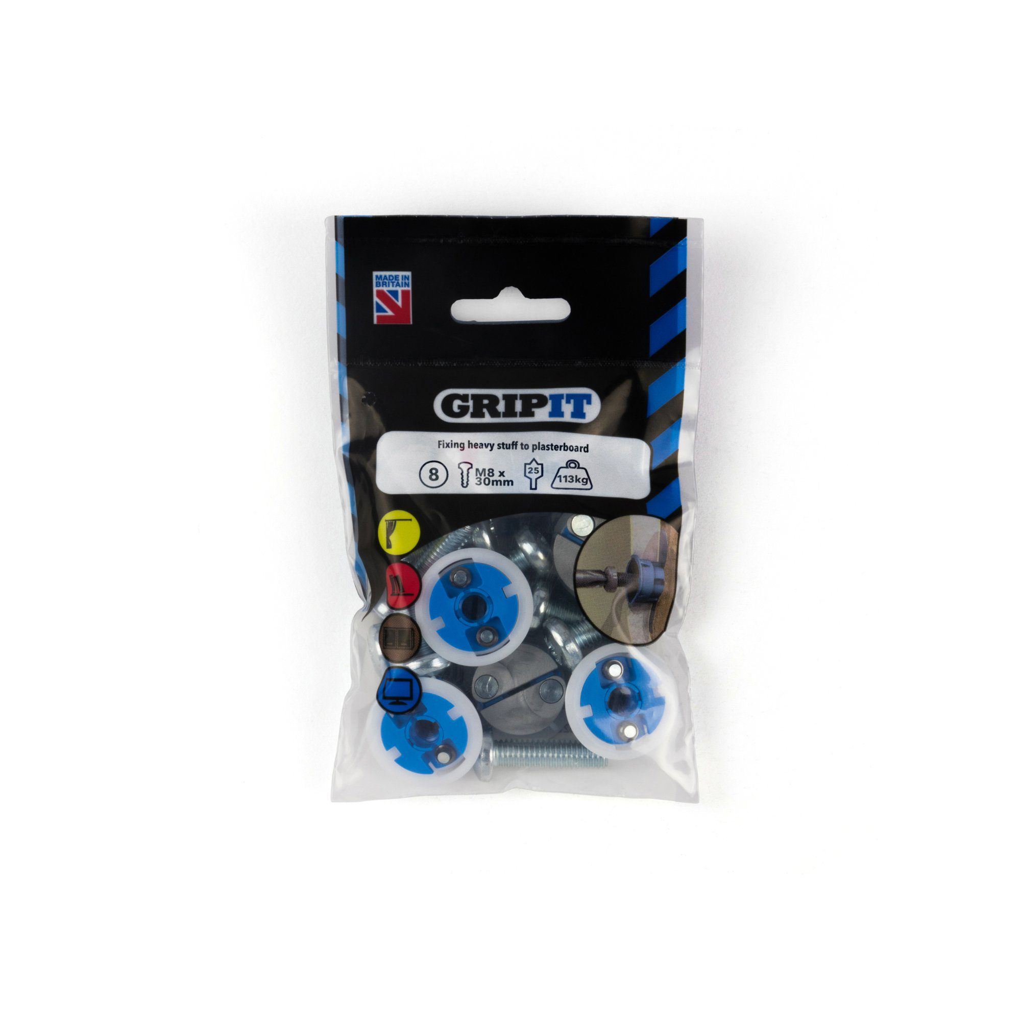 GRIP-IT 25mm Blue Pack of 8
