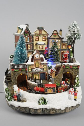 Kaemingk LED Fibre Optic Village With Train 26.5 x 27 x 26cm
