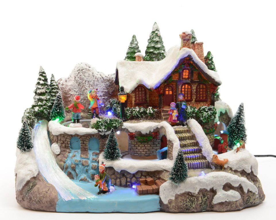 Kaemingk LED Fibre Optic Ski Village 30 x 19.5 x 21cm