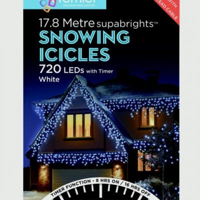 Premier Snowing Icicles With Timer White 720 LED