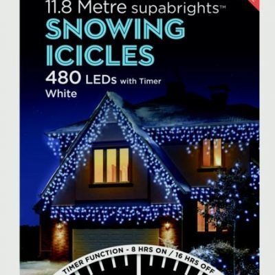 Premier Snowing Icicles With Timer White 480 LED