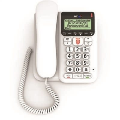 BT Decor 2600 Corded Telephone with Premium Call Blocking White