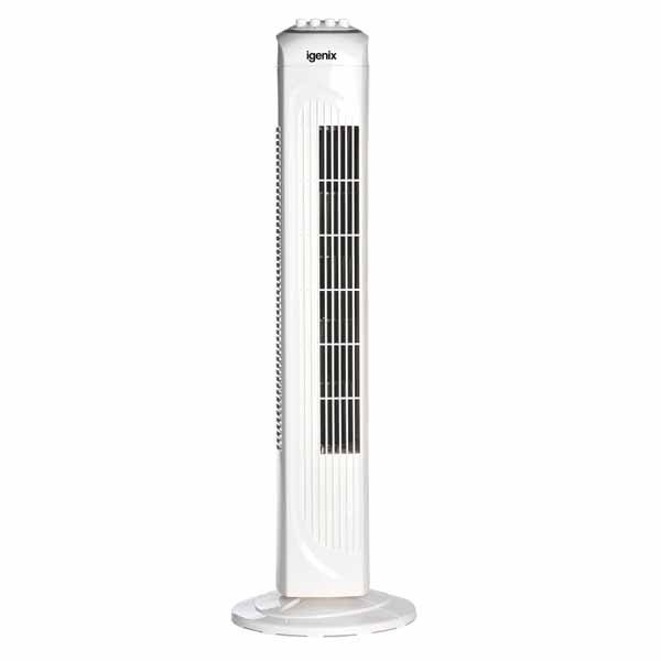 Igenix White Tower Fan With Timer - 30 Inch