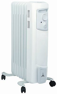 Dimplex Oil Filled Radiator 2 Heat Settings Thermostat White 1.5KW
