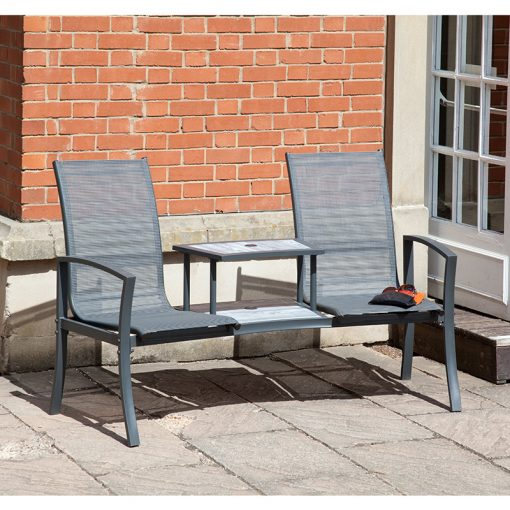 Suntime Charcoal Havana Duo Seat With Painted Glass Topped Table And Parasol