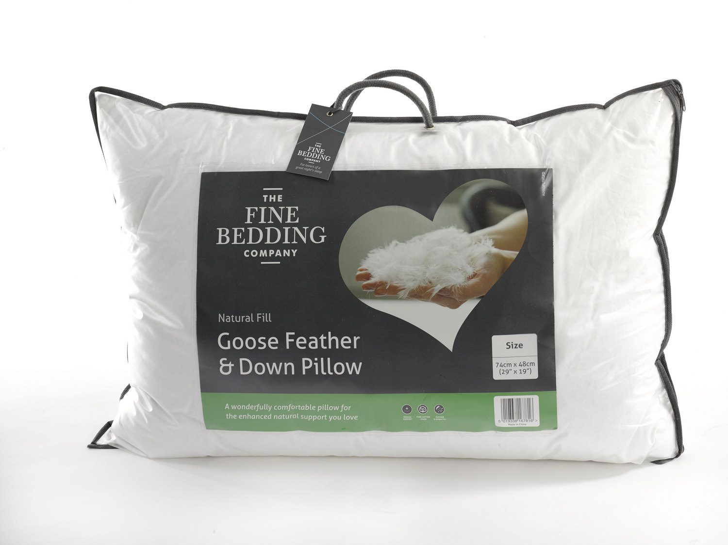 Fine Bedding Goose Feather & Down Pillow.
