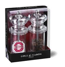 Cole and Mason Pepper and Salt Mill Set, Clear Acrylic