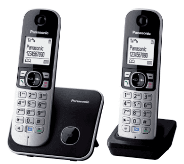 Panasonic Twin Dect Cordless Telephone Eco Mode Black and Silver