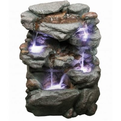 Aqua Creations Craggy Falls Lit Water Feature with LED Lights