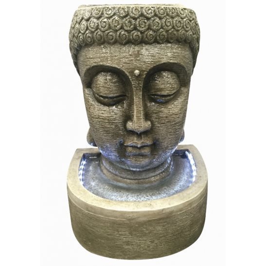 Aqua Creations Classic Buddha Head Water Feature with LED Lights