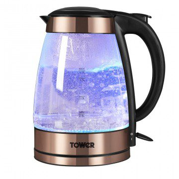 Tower Rapid Boil Illuminated Glass Jug Kettle - Rose Gold & Black