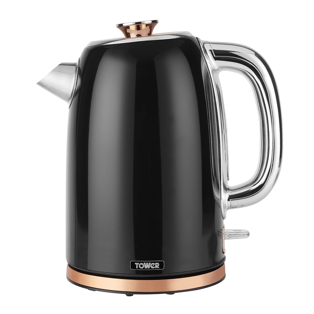 Tower Rose Gold 1.7L Stainless Steel Kettle - Black
