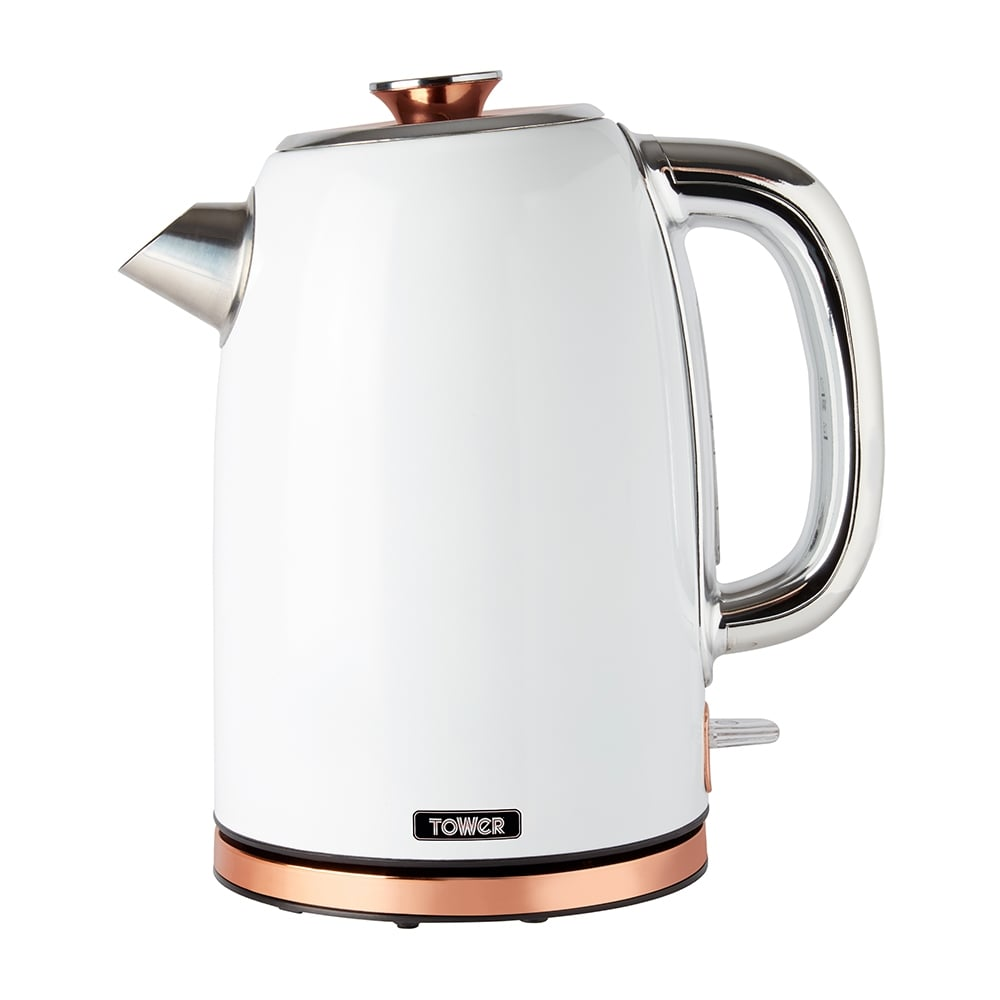 Tower Rose Gold 1.7L Stainless Steel Kettle - White