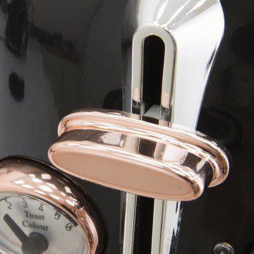 Tower 2 Slice Stainless Steel Toaster - Rose Gold & Black