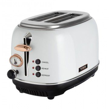 Tower 2 Slice Stainless Steel Toaster - Rose Gold & White