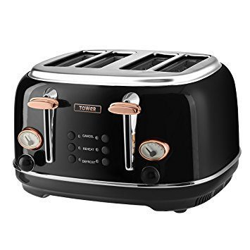 Tower 4 Slice Stainless Steel Toaster - Rose Gold & Black