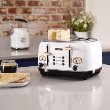 Tower 4 Slice Stainless Steel Toaster - Rose Gold & White