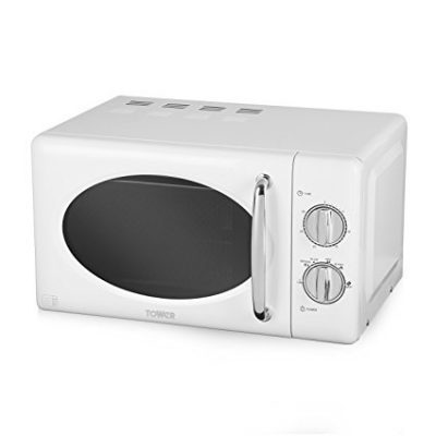 Tower Manual Microwave with Stainless Steel Interior, 20 L, White