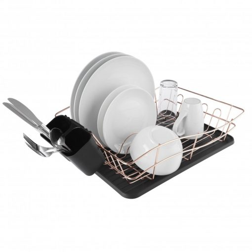 Tower Dish Rack with Tray - Rose Gold & Black