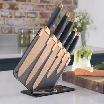 Tower 5 Piece Damascus Patterned Knife Set- Rose Gold & Black