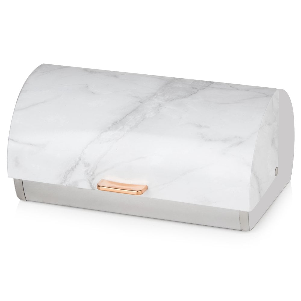 Tower Roll Top Bread Bin - Rose Gold & White Marble