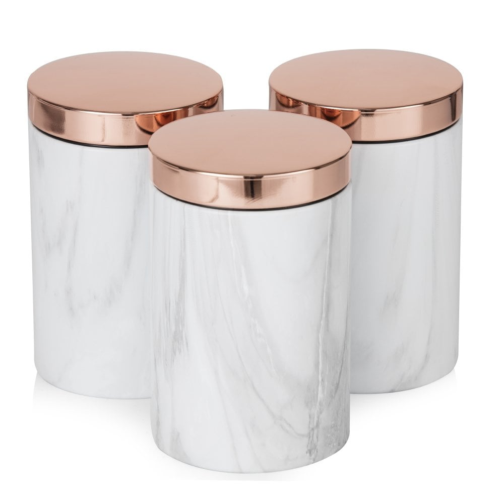 Tower Set of 3 Canisters - Rose Gold & White Marble