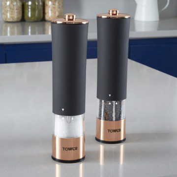 Tower Electric Salt and Pepper Mills - Rose Gold & Black