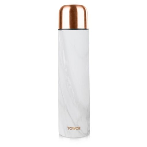 Tower 1000ML Vacuum Flask - Rose Gold & White Marble