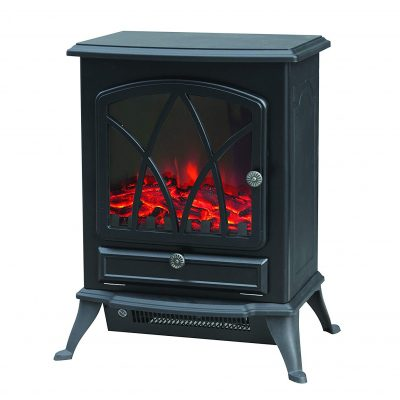 Warmlite Electric Fire Stove with Realistic LED Log Flame, 2000 W - Black