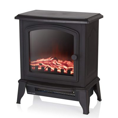 Warmlite Free-Standing Compact Stove Fire, 1000 W and 2000 W Settings, Black