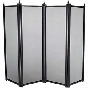Manor Fire Screen 4 Fold Black